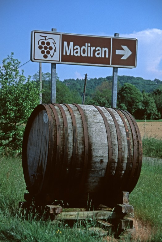 Madiran vineyard sign in the Hautes Pyrenees. Image shot 2004. Exact date unknown.